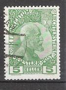 LIECHTENSTEIN 1912, Prince Jean II   YVERT N° 1 , 5 H Vert  ,obl TB Cote 20 Euros
