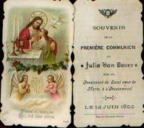 Lot De 2 Souvenirs De Communion Différents VAN BEVER Julia à 's GRAVENWEZEL (1900) - Images Religieuses