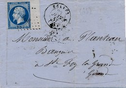 Lettre N°14 BDF CaD Belves Dordogne 1857 - Marcofilia (sobres)