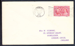 CANADA LETTRE 1937 VISITE ROYALE Y&T  202