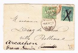 Schweiz 25Rp. Sitzende Genüve 4.9.1878 Brief Nach Escoville (F) Dort Mit 5c Sage Nachgesendet Nach Arcachon - 1862-1881 Sitzende Helvetia (gezähnt)