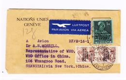 Schweiz OMS/WHO #1 (2) Und 19 Auf Luftpostbrief Von Genève 21.05.1949 Nach Schanghai - Service