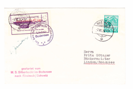 """Schweiz Rheineck 7.6.1935 Umschlag Mit Ungez. """"Raketenflugvignette"""" Gestartet Vom M.S. Silberhecht Bodensee - Suisse"""