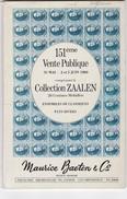 Catalogue Vente Baeten COLLECTION ZAALEN (annotations Au Bic ) Catalogue + Cat. Photos - Catalogues De Maisons De Vente