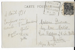 YONNE - 1931 - CARTE Avec DAGUIN De AVALLON - CIRCUITS PLM - Postmark Collection (Covers)
