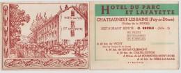 CHATEAUNEUF LES BAINS  - HOTEL DU PARC   - PUB - France
