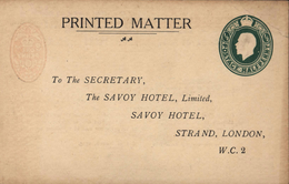 Entier Printed Matter 1/2 Postage Halfpenny Vert Edouard VII To The Savoy Hotel London Dos Timbre Orange 1 Penny - Entiers Postaux