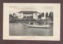 Saint Romain Des Iles Fête Nautique 21 Juillet 1912 Hôtel Modern Joutes St-Romain-des-Iles 71570 Fleuve Saône Restaurant - Autres Communes