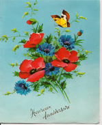 L15F133 - Heureux Anniversaire - Carte Ouvrante Découpée Relief  - Bouquet D'anémones  - G.Picard  N°3089 - Birthday