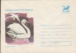 59478- WHITE SWAN, BIRD, DEER, COVER STATIONERY, 1977, ROMANIA