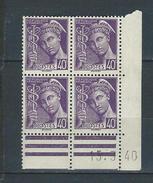 """Coins Datés Yt 413 """" Mercure 40c. Violet """" Neuf** Du 15.3.40 - 1940-1949"""