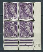 """Coins Datés Yt 413 """" Mercure 40c. Violet """" Neuf** Du 14.3.40 - 1940-1949"""