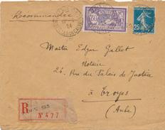 Lettre Recommandée Merson&Semeuse CaD Paris - Postmark Collection (Covers)