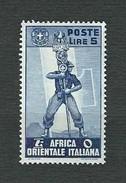 A.O.I. 1938 - Serie Pittorica - 5 L. Azzurro - MH - Sa:IT EA 18 - Africa Orientale Italiana