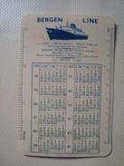 BERGEN LINE CALENDAR NORWAY 1959. NORWEGIAN COASTAL VOYAGES. PLASTIC - Calendriers