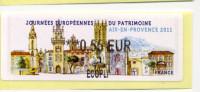 LISA 2/ JOURNÉES EUROPÉENNES DU PATRIMOINE AIX EN ¨PROVENCE 2011 - 2010-... Illustrated Franking Labels