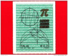"""Nuovo - MNH - ITALIA - 2013 - Anno Archimedeo - 0.70 Costruzione Geometrica  - Tabella Dei Numeri """"pi Greco"""" - 6. 1946-.. Repubblica"""