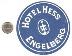 ETIQUETA DE HOTEL  - HOTEL HESS   -ENGELBERG - SUIZA (SUISSE) ( CON CHANELA ) - Hotel Labels