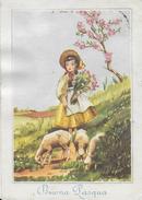BUONA PASQUA - PASTORELLA CON PECORE - EDIZ. SAEMEC S/255 - VIAGGIATA 1961 - Pasqua