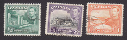 Cyprus, Scott #144-146, Used, King George VI And Scenes Of Cyprus, Issued 1938 - Chypre (...-1960)