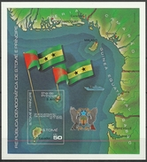 1978 Sao Tome And Principe - Independance Day 1v., Landkarte Flagge Flag Map Bandera Boat Imperf Sheet SC 487 CV$ 26 MNH - Geographie