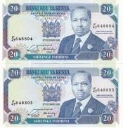 PAREJA CORRELATIVA DE KENIA DE 20 SHILINGS DEL 12 DE DICIEMBRE DE 1988 EN CALIDAD EBC (XF)  (BANK NOTE) - Kenya