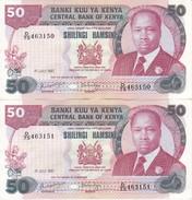 PAREJA CORRELATIVA DE KENIA DE 50 SHILINGS DEL 1 DE JULIO DE 1987 EN CALIDAD EBC (XF)  (BANK NOTE) - Kenia