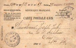 TB 2182 - MILITARIA - Carte Postale Avis Du 39e Rgt D'Artillerie à NANCY Pour CIREY SUR VEZOUZE - Marcophilie (Lettres)