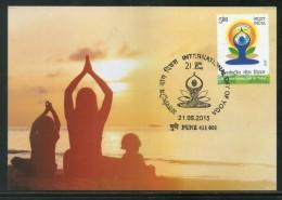 India 2015 International Day Of Yoga Health Fitness Max Card # 8303 - Health