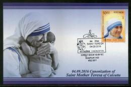 India 2016 Saint Mother Teresa Canonization Nobel Prize Max Card # 8313