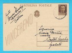 WW2 Italy Occupation Of Montenegro Sent From ZELENICA CATTARO To Castel Vecchio (Kastel Stari) Dalmazia * Zelenika Kotor - Montenegro