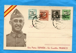 "ESPAGNE- Carte Portrait De FRANCO -""una Patria  Un Caudillo"" Affranchissement 4 Stamps Locaux  Sevilla ""Viva Espana-1937 - Marcas De Censura Nacional"