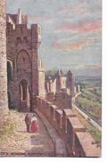 """Cité  De  Carcassonne  -    Avant- Porte  Et  Défenses  De   Chateau      -   Tuck - """" Oilette """" - Carcassonne"""