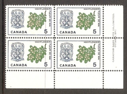 003713 Canada 1964 Emblems 5c Plate 1 Block LR MNH - Numeri Di Tavola E Bordi Di Foglio