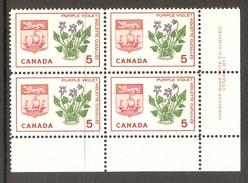 003714 Canada 1964 Emblems 5c Plate 1 Block LR MNH - Numeri Di Tavola E Bordi Di Foglio
