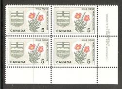 003716 Canada 1964 Emblems 5c Plate 1 Block LR MNH - Numeri Di Tavola E Bordi Di Foglio