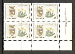 003717 Canada 1964 Emblems 5c Plate 1 Block LR MNH - Numeri Di Tavola E Bordi Di Foglio