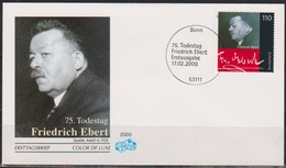 Bund FDC 2000 Nr.2101  75.Todestag Friedrich Ebert ( D 3220 ) - FDC: Covers
