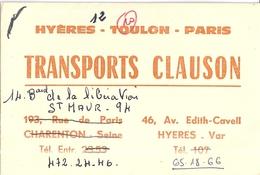 TRANSPORTS CLAUSON  HYERES VAR - Cartes De Visite