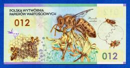 Poland - PWPW 012 Honey Bee Polymer Specimen Test Note 2012 Fds / Unc - Specimen