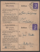 AMBULANT D ALSACE - III REICH - OCCUPATION / 1942 ERSTEIN - 2 CARTES RECEPISSES EXPRES (ref 1516) - Marcophilie (Lettres)