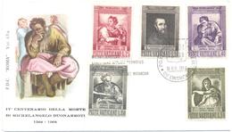 VATICANO - VATICAN - 1964 - IV Centenario Della Morte Di Michelangelo Buonarroti - FDC - Roma - FDC