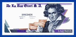 De La Rue Giori S.A. Varinota Beethoven Uniface Intaglio Specimen Test Note Fds / Unc - Fictifs & Spécimens
