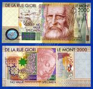 De La Rue Giori Leonardo Da Vinci Le Mont 2000 Specimen Test Note Fds / Unc - Specimen