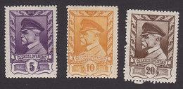 Czechoslovakia, Scott #262A-C, Mint Hinged, Masaryk, Issued 1945 - Czechoslovakia