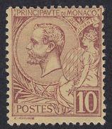 MONACO - 1891/1894 - Yvert 14 Nuovo MNH, Lilla/bruno Su Giallo, 10 Centesimi. - Monaco