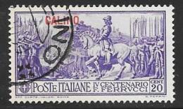 Italy  Aegean Islands Calino, Scott # 12 Used Ferrucci Issue, Overprinted, 1930 - Aegean (Calino)