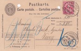Entier Postal Avec Affranchissement Complémentaire, Oblitéré Fribourg Le 20.IV.1907 - Entiers Postaux