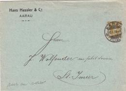 Entier Postal  De La Firme Hans Hassler & Co , Oblitéré Aarau Le 12.I.1909 - Erreur Cachet Au Verso : ST.JMIER - Entiers Postaux