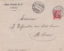 Entier Postal De La Firme Hans Hassler & Cio, Aarau, Obl. Le 14.I.1909 - Erreur Cachet Au Verso : ST.JMIER - Entiers Postaux